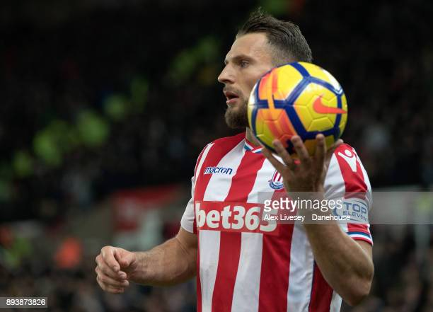 Stoke Erik Pieters during the Premier League match between Stoke City and West Ham United at Bet365 Stadium on December 16 2017 in Stoke on Trent...