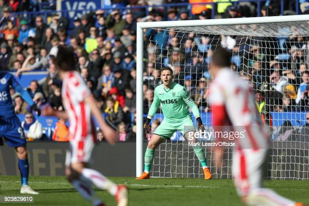 Stoke goalkeeper Jack Butland during the Premier League match between Leicester City and Stoke City at The King Power Stadium on February 24 2018 in...