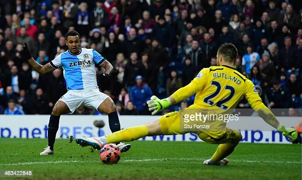 Stoke goalkeeper Jack Butland is beaten by a shot from Josh King of Blackburn to score their third goal during the FA Cup Fifth round match between...