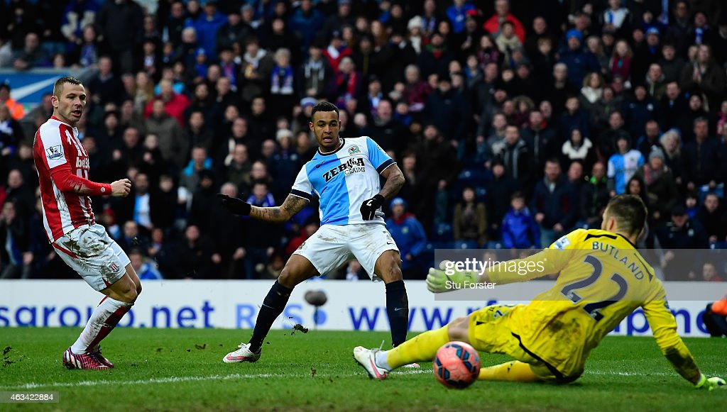 Stoke goalkeeper Jack Butland is beaten by a shot from Josh King of Blackburn to score their third goal during the FA Cup Fifth round match between Blackburn Rovers and Stoke City at Ewood park on February 14, 2015 in Blackburn, England.