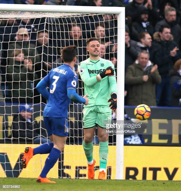 Stoke goalkeeper Jack Butland shows his dejection after after making a mistake that led to the Leicester equalising goal during the Premier League...
