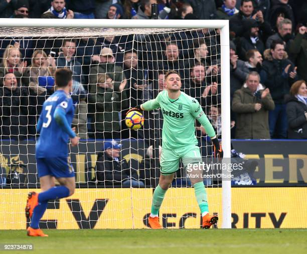 Stoke goalkeeper Jack Butland shows his disgust after making after making a mistake that led to the Leicester equalising goal during the Premier...