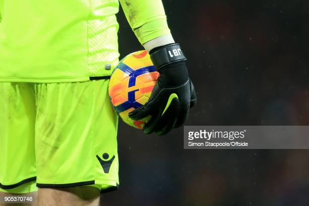 Stoke goalkeeper Jack Butland wears personalised Nike gloves during the Premier League match between Manchester United and Stoke City at Old Trafford...