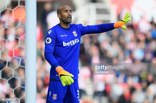 Stoke goalkeeper Lee Grant in action during the Premier League match between Stoke City and Sunderland at Bet365 Stadium on October 15 2016 in Stoke...