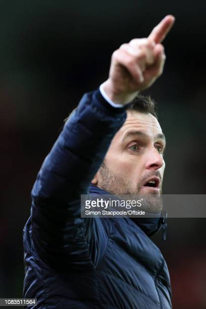 Stoke manager Nathan Jones gestures during the FA Cup Third Round Replay match between Stoke City and Shrewsbury Town at the Bet365 Stadium on...