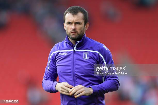 Stoke manager Nathan Jones looks on after the Sky Bet Championship match between Stoke City and Norwich City at the Bet365 Stadium on April 22 2019...