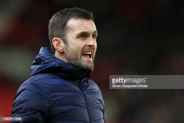 Stoke manager Nathan Jones looks on during the FA Cup Third Round Replay match between Stoke City and Shrewsbury Town at the Bet365 Stadium on...