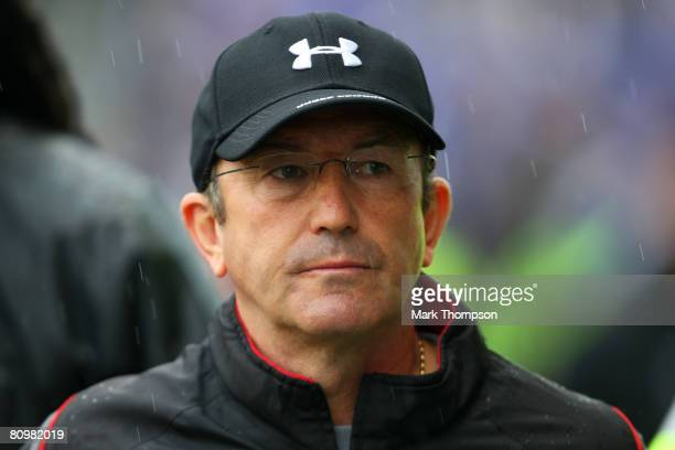 Stoke manager Tony Pulis looks on prior to the CocaCola Championship match between Stoke City and Leicester City at Britannia Stadium on May 4 2008...