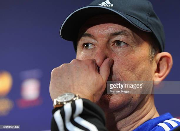 Stoke manager Tony Pulis speaks to the media aheads of the Stoke City training session at Clayton Wood Training Ground on February 15 2012 in Stoke...