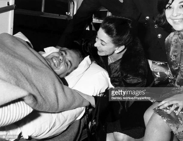 Stoke Mandeville England 11th February 1965 Dr Roberto Arias is comforted in the ambulance by his wife Ballet Dancer Dame Margot Fonteyn Arias was...