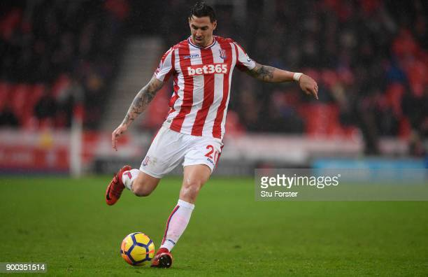 Stoke player Geoff Cameron in action during the Premier League match between Stoke City and Newcastle United at Bet365 Stadium on January 1 2018 in...