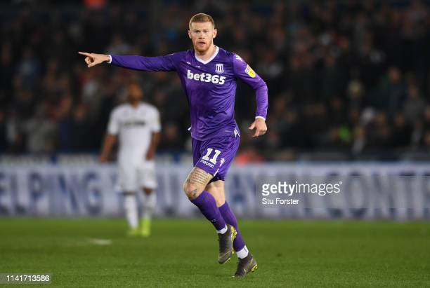 Stoke player James McClean reacts during the Sky Bet Championship match between Swansea City and Stoke City at Liberty Stadium on April 09, 2019 in...
