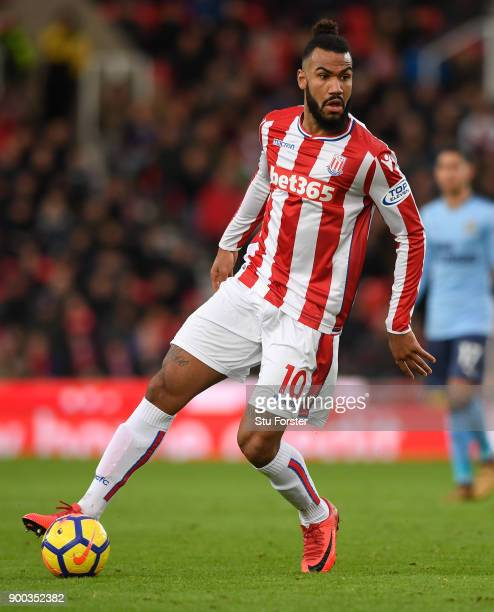 Stoke player Maxim ChoupoMoting during the Premier League match between Stoke City and Newcastle United at Bet365 Stadium on January 1 2018 in Stoke...