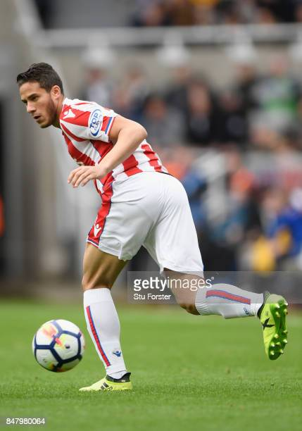 Stoke player Ramadan Sobhi in action during the Premier League match between Newcastle United and Stoke City at St James Park on September 16 2017 in...