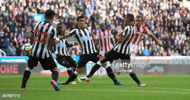Stoke player Xherdan Shaqiri scores the Stoke goal during the Premier League match between Newcastle United and Stoke City at St James Park on...