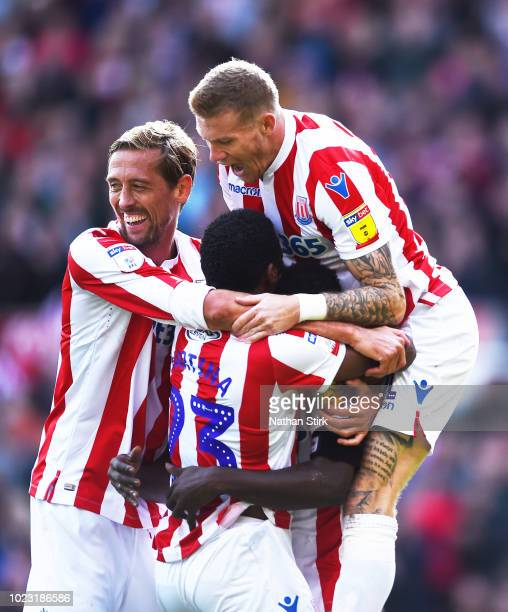 Stoke players celebrate as they score the second goal of the game during the Sky Bet Championship match between Stoke City and Hull City at Bet365...
