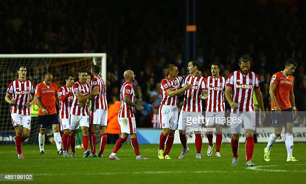 Stoke players celebrate the goal scored by Jonathan Walters during the Capital One Cup second round match between Luton Town and Stoke City at...