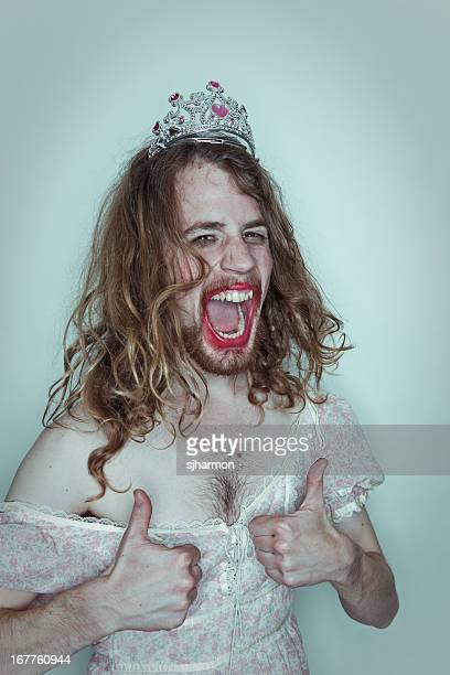 Stoked Male Prom queen in drag tiara on head lipstick