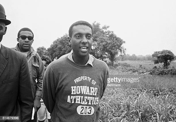 Stokely Carmichael the Nonviolent Coordinating Committee Chairman participates in the Mississippi Freedom March in Sardis Mississippi