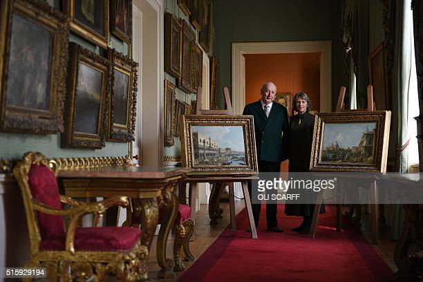 Stoker Cavendish Duke of Devonshire and his wife Amanda Duchess of Devonshire pose for a photograph in the West Sketch Gallery of Chatsworth House...