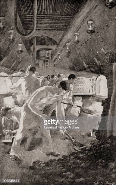 Stokers shoveling coal into furnaces in the engine room of a warship, c.1900. From The History of Our Country, published 1900.