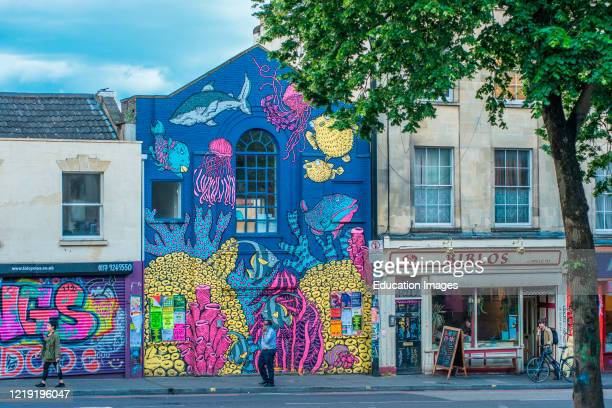 Stokes Croft is a colorful district of Bristol full of street art. Avon, England, UK.