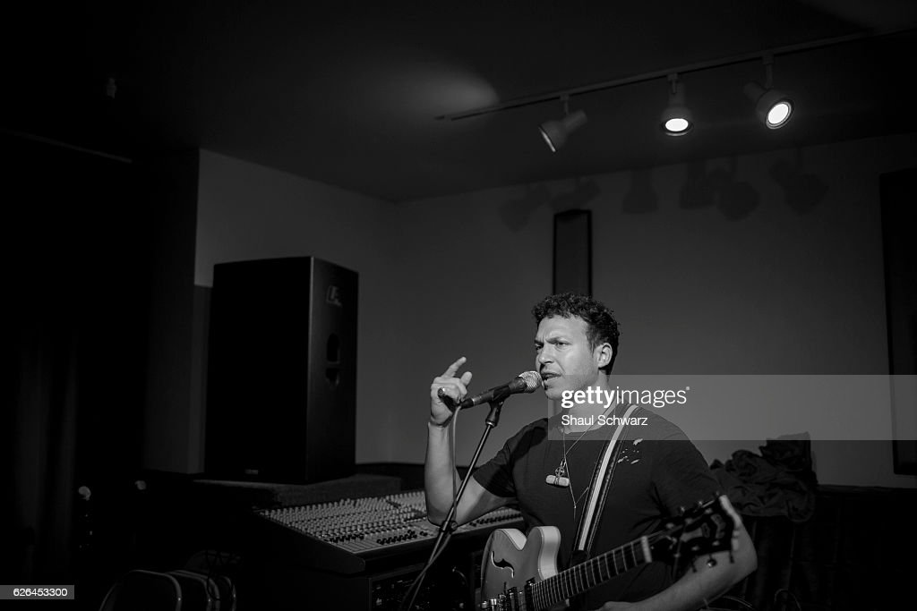 Stolar sings during his band's rehearsal. Through his singing and songwriting, Stolar expresses himself and offers support and encouragement to others living with a mental health condition. Stolar channels his experiences with bipolar disorder and depression into his music.