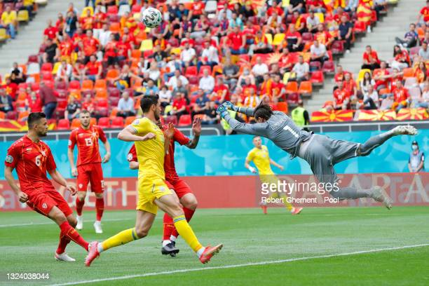 Stole Dimitrievski of North Macedonia punches the ball clear during the UEFA Euro 2020 Championship Group C match between Ukraine and North Macedonia...