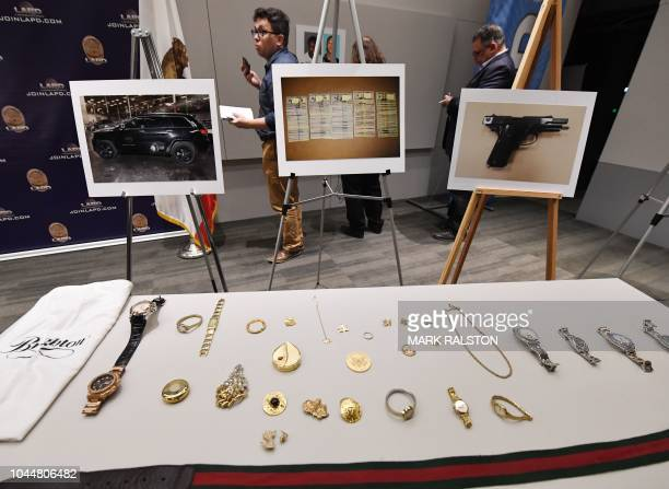 Stolen goods on display at a LAPD press conference to announce the arrest of four suspects in connection to a spate of high profile burglaries at the...