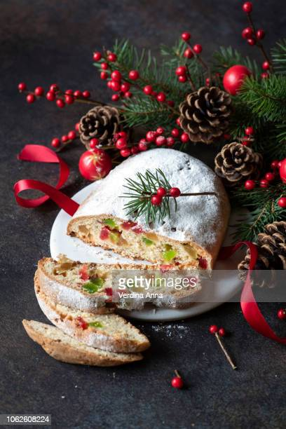 stollen - christmas cake stock photos and pictures