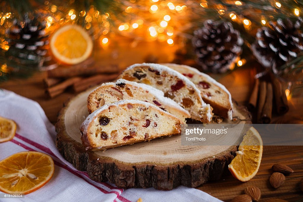 Stollen, traditional Christmas sweet holiday cake : Stock Photo