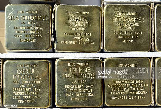 Stolpersteine' memorial cobblestones lay in a row on August 13, 2012 in Hamburg, Germany. Each stone has a brass plaque commemorating a victim of the...