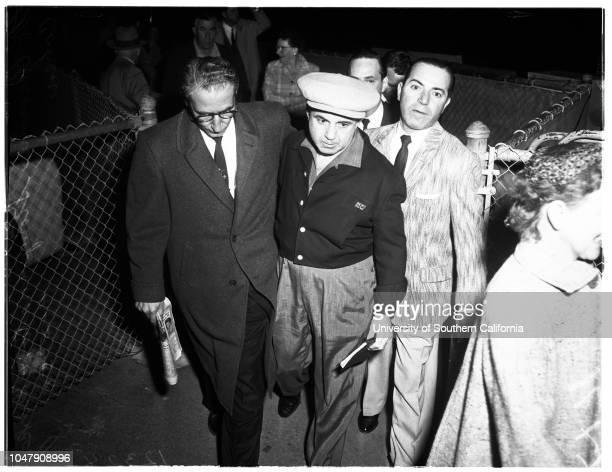 Stompanato murder 05 April 1958 Mickey CohenCarmine Stompanato wearing glassesCaption slip reads 'Photographer Gray Date Reporter MacMillin...