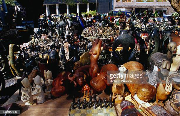 Stone and wood carvings; souvenir stalls on African Unity Square