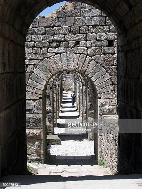 Stone arches supporting the Acropolis of Pergamon