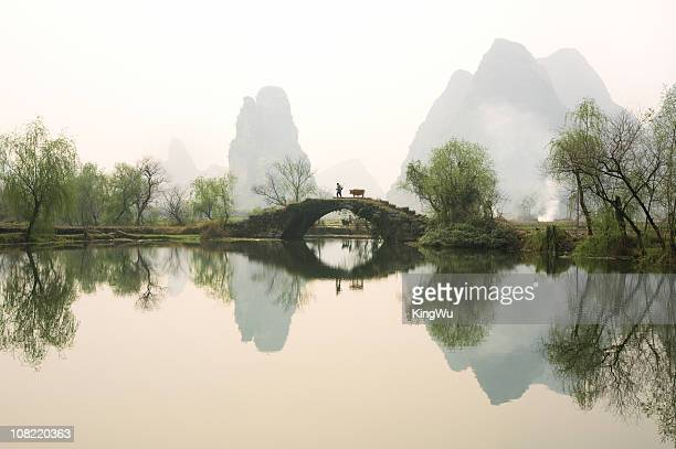 stone bridge in guangxi province, china - ancient stock pictures, royalty-free photos & images