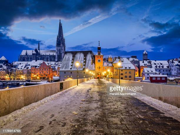 stone bridge on danube river with cathedral at night, regensburg, bavaria, germany - レーゲンスブルク ストックフォトと画像