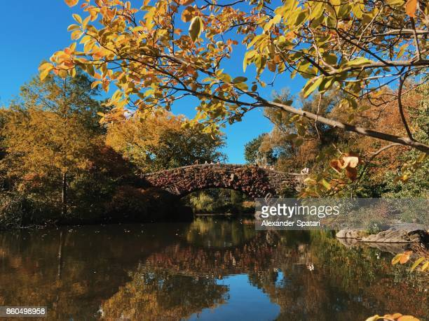 Stone bridge over the pond in Central Park at sunny autumn day, New York City, USA
