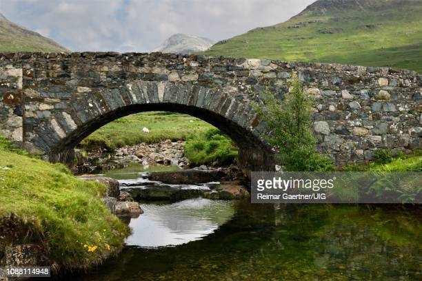 stone bridge over the scarsdale river with sheep and peak of ben more mountain in distance on isle of mull inner hebrides highlands scotland - scarsdale stock photos and pictures