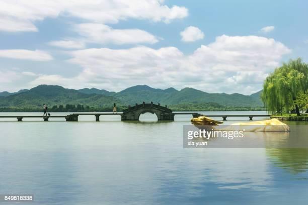 A stone bridge over West Lake,Hangzhou,China