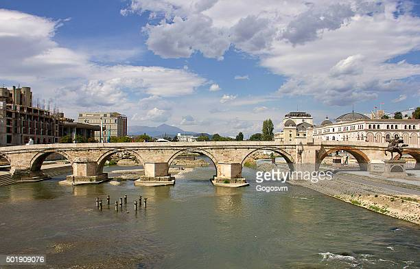 stone bridge - skopje stock pictures, royalty-free photos & images