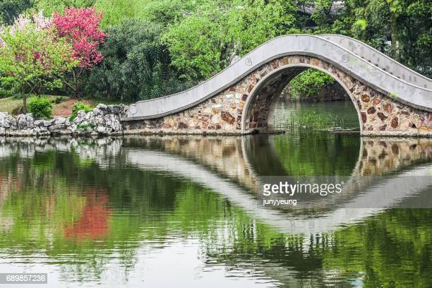 stone bridge reflected in the lake