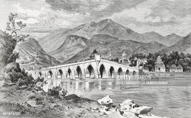 Stone bridge spanning the Drina at Visegrad Bosnia engraving from L'Illustrazione Italiana Year 5 No 32 August 11 1878