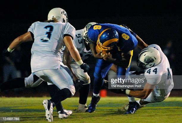 FAIRFAX VA SEPTEMBER 1 2011 Stone Bridge's quarterback sack in the second quarter on September 1 2011 Stone Bridge's Adam Kiphuth takes down Robinson...
