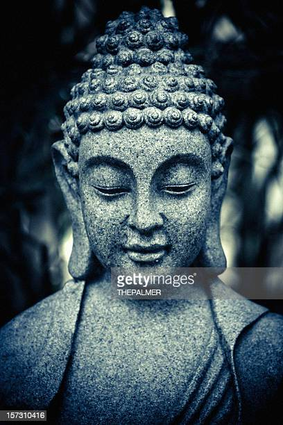 stone buddha head - buddha stock photos and pictures