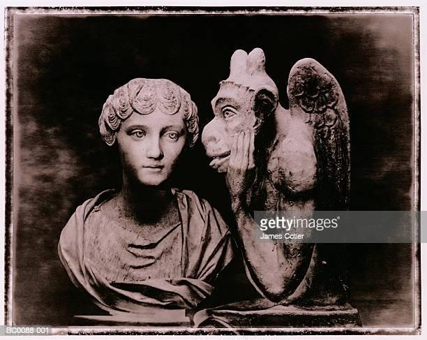 stone bust and gargoyle (toned b&w) - kunstskulptur stock-fotos und bilder