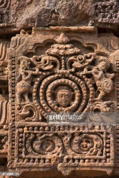 Stone carved, chhaya devi temple wall, konark, orissa, india, asia