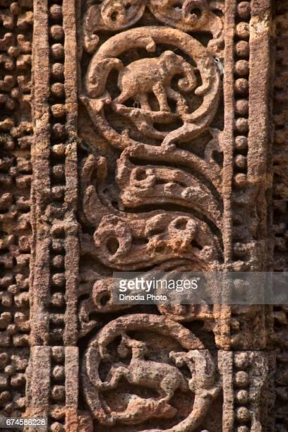 Stone carved, chhaya devi temple, wall, konark, orissa, india, asia