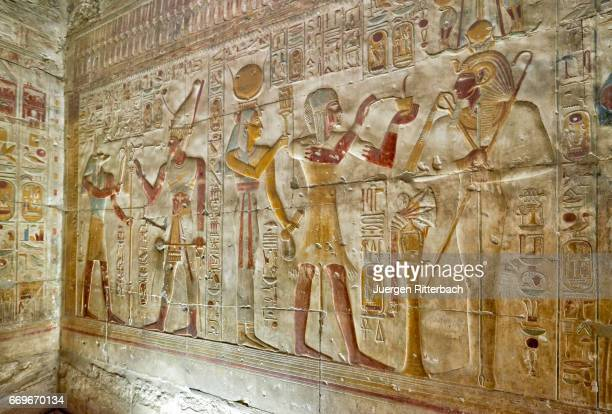 stone carved reliefs in sanctuaries of temple of Seti I , Abydos