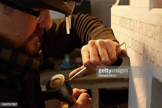 Stone carver at work